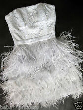 NWT bebe addiction isis XS S M L lace feather top skirt dress strapless clubbing