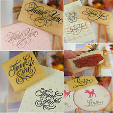 Popular Wooden Rectangle Stamp Rubber Craft  Scrapbooking Thank You Love Wedding
