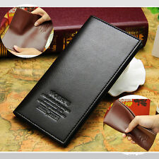 Men's Faux Leather Long Fashion Trifold Wallet Purse Credit Card Checkbook