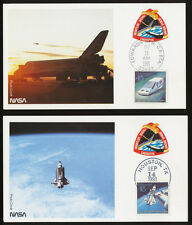Space Shuttle photo cards (TWO SCANS) with 45c UPU stamp set - Sept 12, 1991