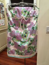 laundry by shelli segal strapless dress size 8 NWOT white green lavender florals