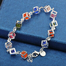 Popular Women Silver Plated Chain Charm Box Crystal Chain Bracelet Bangle Party