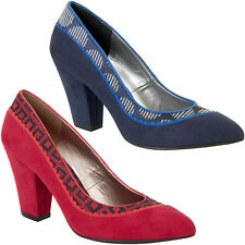 LADIES RUBY SHOO ELLY RED OR BLUE SHOES VINTAGE INSPIRED FAUX SUEDE RETRO SHOES