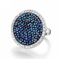 18K White Gold Plated Big Colored Crystal Ring w Swarovski Element Crystal R285