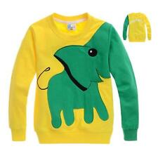 Kids Boys Girls Tops Tees Toddlers Elephant Animal Colorblock T-shirts Age 3-8 Y