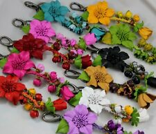1 Pc. Flower Genuine Leather Key Ring Keychain Purse Bag Charm Unique Limited QT