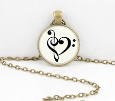 Music Heart Bass Treble Musician Gift Music Lover Pendant Necklace Key Chain