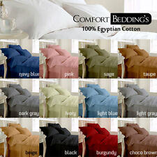 EGYPTIAN COTTON 1200~TC UK DOUBLE SIZE SOLID COLOR BEDDING SHEET SET FAST& FREE