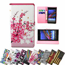 Stand Flip PU Leather Phone Cover Pouch Case For Sony Xperia Z1 Compact Z2 E1 M2