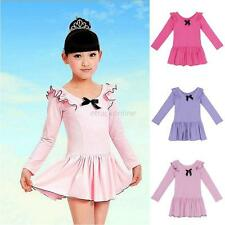 Kids Girls Ballet Gymnastics Long Sleeve Bodysuit Leotard Skirt Tutu Dance Dress