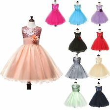 Pretty Girl Princess Party Pageant Birthday Wedding Flower Sparkly Glitter Dress