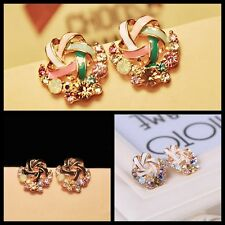 Chic Girl Multicolour Crystal Rhinestone Earring Korean Windmill Ear Stud