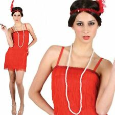20's 1920s Showtime Red Flapper Fancy Dress Costume Charlston Womens Ladies UK