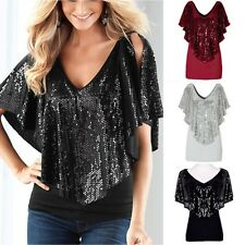 Women Spangle Sequin sparkle glitter Tank Top Vest Short Sleeve T-Shirt  G74