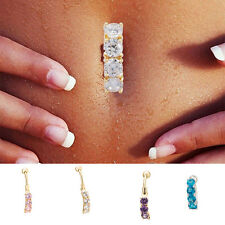 Crystal Dangle Navel Belly Button Ring Bar Body Piercing Jewelry Barbell HOT