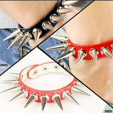 Popular Punk Metal Rivet Cone Stud Spike Leather Bangle Cuff Bracelet Wristband