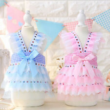 Grid Dog Puppy Dress Princess Skirt Sundress Chihuahua Small Dog Clothes Elegant