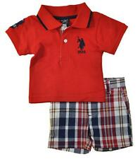 U.S. Polo Assn Infant Boys S/S Red Polo 2pc Short Set Size 3/6M 6/9M $32