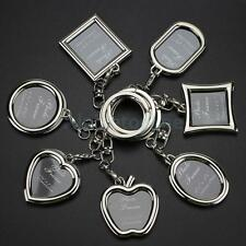 Silver Metal Blank Keyring Photo Picture Frame Split Keychain Key Ring Fobs Gift