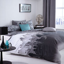 CATHERINE LANSFIELD CITY SCAPE GREY DUVET QUILT COVER BEDDING SINGLE DOUBLE KING