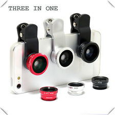 Universal 3in1 Clip On Camera Lens Kit Wide Angle Fisheye Macro For Smart Phone