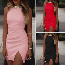 Women Sexy Slit Mini Dress Skirts High Neck Party Cocktail Clubwear Sundress