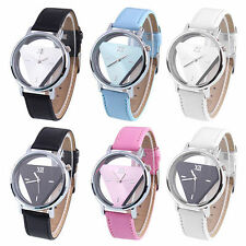 Creative Chic Glass Hollow Triangle Dial Faux Leather Analog Quartz Wrist Watch