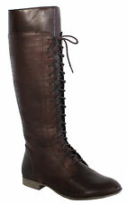 Hush Puppies Farland 16 Inch Womens Zip Boot Brown Leather H506634 D102