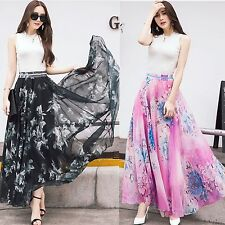 summer women printing high elastic waist fairy chiffon big skirt summer beach