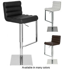 Fanning Adjustable Barstool Kitchen Counter Leather  Stool Modern Contemporary