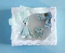 Dolls House Miniature 1/12th Scale Baby Gift Set - Blue or Pink