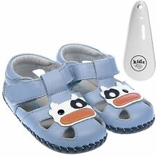 Boys Toddler Leather Soft Sole Baby Shoes Sandals Pale Blue & White & Shoe Horn