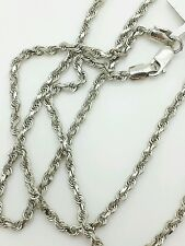 14k Solid White Gold Diamond Cut Twist Rope Necklace Pendant Chain 2.25mm 16-30""