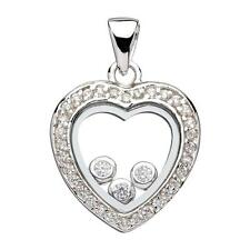 Sterling Silver Micro Pave & Floating Cz Heart Pendant Rhodium Plated 15x15mm