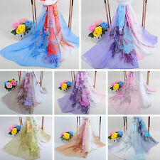 Women Long Shawl Scarves Peony Flower Print Chiffon Scarf Stole Sheer Wrap US