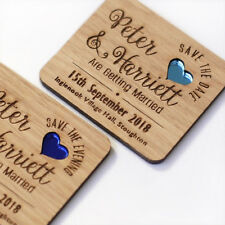 Wooden Save The Date Magnet Wood Wedding Save The Dates Magnets Coloured Hearts