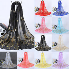Women Long Scarf Soft Wrap Shawl Peacock Print Chiffon Stole Kerchief Gold US