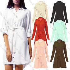 Womens Cold Shoulder Collared Buttoned Shirt Dress Ladies Belted Top UK 8-14
