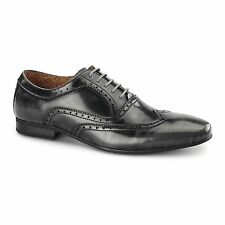 Front EZEL Mens Leather Smart Casual Comfort Oxford Brogue Shoes Rubbed Grey