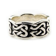 Large 925 Sterling Silver Irish Celtic Men's Infinity Knot Knotwork Ring Band