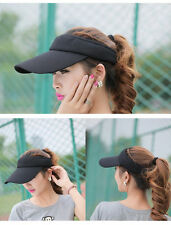 Adjustable Women Men Plain Golf Tennis Wide Brim Beach Sports Sun Visor Cap Hat