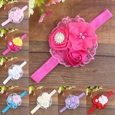 10 Color Baby Infant Kids Girls Lace Pearl Flower Soft Elastic Headband Hairwear