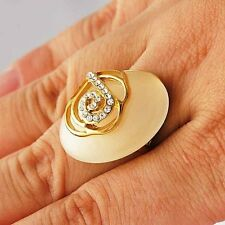 Charming Oval Opal /Clear CZ Yellow gold filled Womens vintage Ring lot Size 7 9