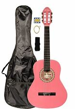 "De Rosa 36"" Student Classical Nylon Acoustic Guitar - PINK w/ FREE Accessories!"