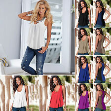 Womens Colorblock Sleeveless Chiffon Colorblock Vest Tops Blouse Casual  T-shirt