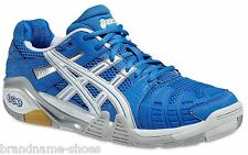 MENS ASICS GEL PROGRESSIVE INDOOR COURT BLUE WHITE MEN'S SQUASH  BADMINTON SHOES