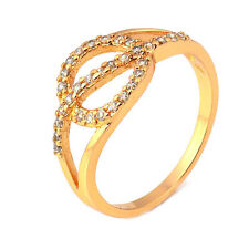 Woman 24K Yellow Gold Plated Round Cubic Zirconia Promise Love Band Ring Size 9