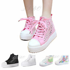 Girl Lace Up Round Toe Hollow Platform Wedge Shoes High Top Casual Sneaker