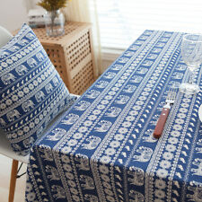 Pretty Blue Elephant Dinning Coffee Table Cotton Linen Cloth Covering L