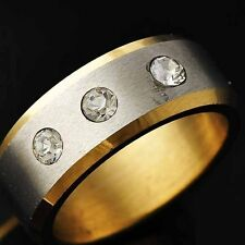 Stylish Yellow GF Stainless Steel Clear CZ Mens Ring Size 8 9 10 11